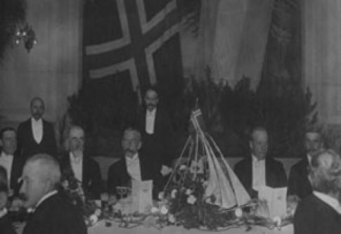 Christophersen, Amundsen y Nilsen en una cena de honor en Buenos Aires, junio 1912