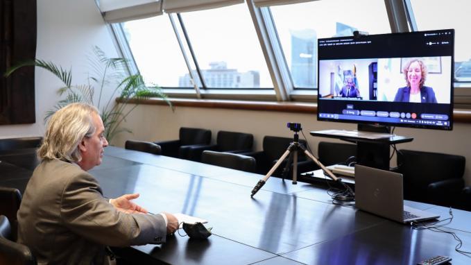 Videconferencia del vicecanciller Tettamanti con la embajadora Lyra Puisyte Bostroem